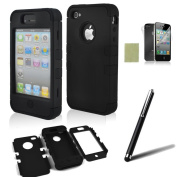 iphone 4 case, iphone 4s case, SQdeal® 3in1 Rubber + Plastic High Impact Hybrid Hard Case Protective Cover for iphone 4 4s, with Accessies - Touch Stylus Pen and Front/Back Screen Protector,etc