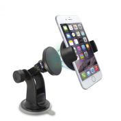 Car Mount, TechMatte MagGrip Windshield and Dashboard Magnetic Universal Car Mount Holder (Black) for the Samsung Galaxy S6/S6 Edge, Apple iPhone 6/5S/5C/5/4S/4, Galaxy S5/S4/S3/S2, HTC One M7/M8/M9 [in Eco-Friendly Packaging]