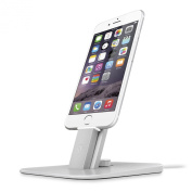 Twelve South HiRise Deluxe for iPhone/iPad, silver | Adjustable charging stand w/Lightning + MicroUSB cables