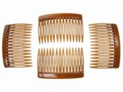 4 Pack 7cm Tort Brown Hair Side Combs Slides Grips