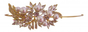 Bridal Hair Accessories Pearl Gold Crystal Headband/Side Tiara