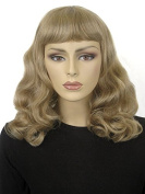 Blonde Wig, Curled With Short Fringe