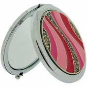 FMG CZ and Pink Decorated Pocket Mirror with True Image and 2 X Magnification