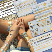 Gold Flash Tattoos, Golden Skin Tattoos, Temporary Tattoos, Tattoo Jewellery, BEAUTY Set - 5 sheets with over 40 individual motifs