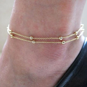 Hittime Double Chain Anklet Bracelet Ankle Foot Jewellery Barefoot Beach Anklet