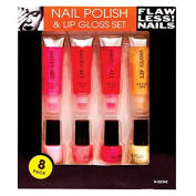 Invero® 8x Pack of Gorgeous Nail Polish Varnish and Lip Gloss Gift Set Includes 4x Varnish and 4x Lipgloss