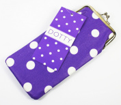 Dotty Glasses Case/Pouch, Purple and White, Made From Laminated Canvas With a Cotton Lining, Clip Fastener