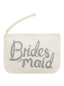 "Canvas Pouch - Make Up/Cosmetic Bag ""Bridesmaid"" - Grey Print - By Alphabet Bags"