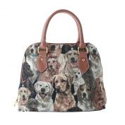 Signare Womens Fashion Canvas Tapestry Convertible Shoulder Handbag in Labrador Design