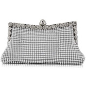 Topro Silver Diamante Crystal Satin Evening Wedding Clutch Purse Bag for Ladies