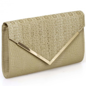 BMC Womens PU Leather Alligator Skin Pattern Glitter Metal Accent Flap Clutch