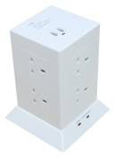 8/9 Gang Socket Extension Lead (with OR without 2 USB Ports) with OR without Surge Protection, 13 amp 1.5 Metre (WHITE 8 Gang