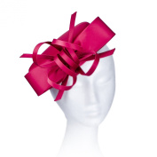 Janeo Kate Pillbox Fascinator Hat Headwear. Classic, Crisp and Clean Shape with Bows. Pearlised Satin Pill Box in Five Versatile Colours