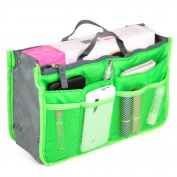 Accessotech Travel Cosmetics Pouch Professional Handbag Insert Organiser Tote Storage Insert Green