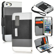 Faux Leather Wallet Flip Pouch Case,Stand Cover For iPhone 5 & 5S - Choose Style