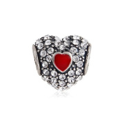 European Sterling Silver Pave Enamel Heart With Clear Crystal Charm