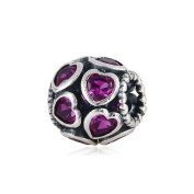 European Style Sterling Silver Love All Around Beads with Purple Stone