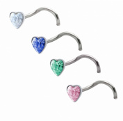 Pack of 4 piece nose studs nose rings crystal heart Sterling Silver