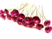 20pcs x 8mm Cerise Crystal Rhinestone Hair Pin Party Prom Bride Wedding