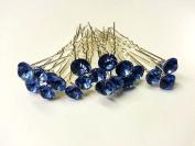20pcs x 8mm Light Blue Crystal Rhinestone Hair Pin Party Prom Bride Wedding