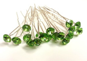 20pcs x 8mm Lime Green Crystal Rhinestone Hair Pin Party Prom Bride Wedding