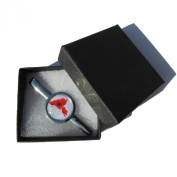 Handmade Red Poppy Design - Silver Plated Tie Pin Slide - Gift Boxed