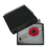 Handmade Fimo Red & Black Poppy Flower Mens Tie Pin Slide Clip - Gift Boxed