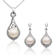 High grade fashion necklaces earrings suit 18 k white gold plated pearl suits