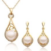 Necklace earrings suit 18 k gold plated pearl set high fashion