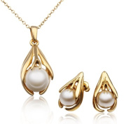 18 k gold plated pearl pendant suits