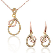 18 k rose gold clavicle necklace + earrings