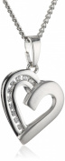 Xaana Women's Heart Pendant with Zirconia and Curb Chain Necklace 45 CM Rhodium-Plated 925 Sterling Silver AMZ0230