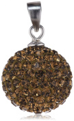 "Pasionista Women ""s Pendant Sterling Silver Sphere with Brown Crystals 608259"
