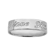 """FranceBijoux Men's Wedding Band Ring 6 mm """"I Love You"""" Inscriptions 925 Solid Silver, 58-New"""