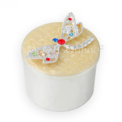 Enamelled Metal Die Cast Silver Plated Round Box with Dragonfly Trinket Box / Pill Box / Keepsake Box / Miniatures Jewelled Box