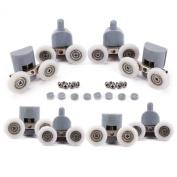 8Pcs Double TwinTop / Bottom Shower Door ROLLERS / Runners / Pulleys / Wheels bathroom Replacement Parts 25mm diameter