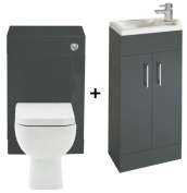 Kelvin Anthracite 400 Bathroom Vanity Combination Unit Cloakroom Suite 500 Square Back To Wall Toilet, Pan, Soft Close Seat, York Mini Tap Un Slotted Waste