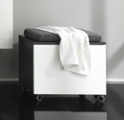 Furnline 1438-572-03 Beach High Gloss Bathroom Cabinet Bench, Grey