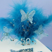 Teal Feather Spray With Matching Butterflies And Black Diamantes
