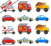 PRE-CUT CARS EDIBLE RICE / WAFER PAPER CUP CAKE TOPPERS PARTY BIRTHDAY DECORATION