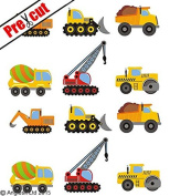 PRE-CUT CONSTRUCTION VEHICLES EDIBLE RICE / WAFER PAPER CUP CAKE TOPPERS PARTY BIRTHDAY DECORATION