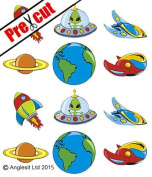 PRE-CUT SPACESHIP PLANET ALIEN EDIBLE RICE / WAFER PAPER CUP CAKE TOPPERS PARTY BIRTHDAY DECORATION