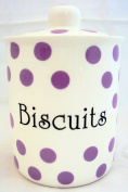 Purple Spots Biscuits Canister Fine Bone China Lavender Storage Biscuits Jar Hand Decorated in the U.K. Free U.K. Delivery