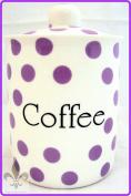 Purple Spots Coffee Canister Fine Bone China Lavender Storage Coffee Jar Hand Decorated in the U.K. Free U.K. Delivery