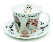 Roy Kirkham Animal Fashion Cat Breakfast Cup & Saucer in Fine Bone China