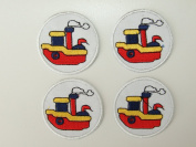 Sailing Boat Set Iron on Sew on Embroidered Badge Applique Motif Patch