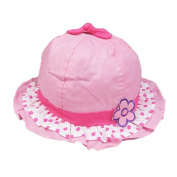 Baby-Girls Infant Sun Protection Hat Cotton Princess Hat With Flower,Pink