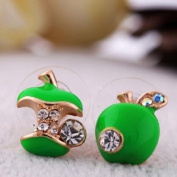 TR.OD Cute Lovely Apple Heart Core Design Ear Pin Studs Button Earrings Green