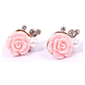 TR.OD Rose Flower Bling Shining Crystal Rhinestone Faux Pearl Piercing Pierced Ear Pin Stud Earrings Pink