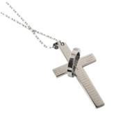 Hot Men's Stainless Steel Cross & Ring Chain Pendant Necklace Fashion Good Gift